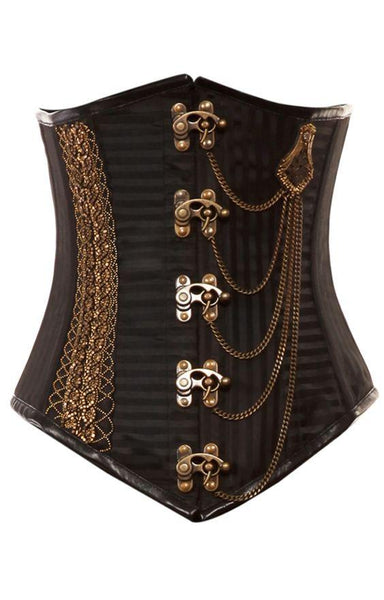 Romeo Black Stripe Corset With Intricate Gold Chain
