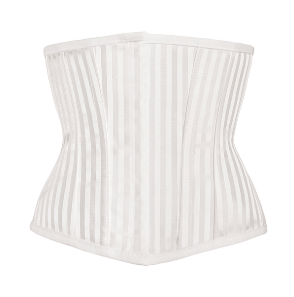 NaughtySmile Adjustable Structured Corset with Criss Cross Lacing Instant Shape White Striped Underbust