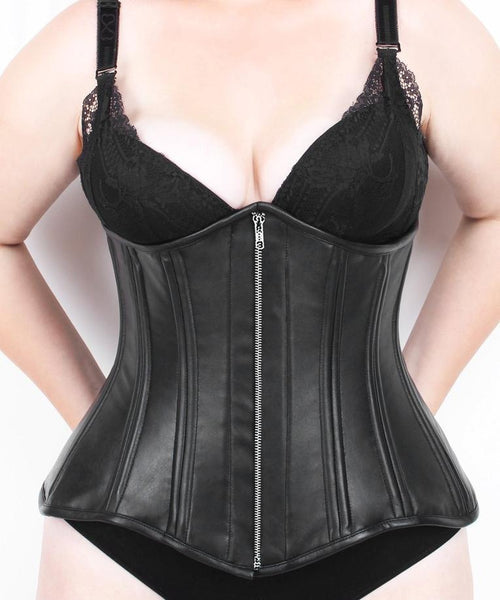 Hove Underbust Black Genuine Leather Longline Corset