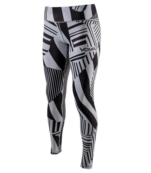 ABSTRACT GREY FITTED TIGHTS (GREY / BLACK)
