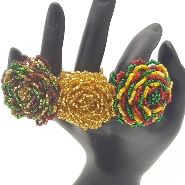Rose Bloom Beads Rings - Rings -  Talkeko Jewelry