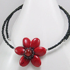 Red Gem StoneBeaded Flower Choker - Necklace -  Talkeko Jewelry