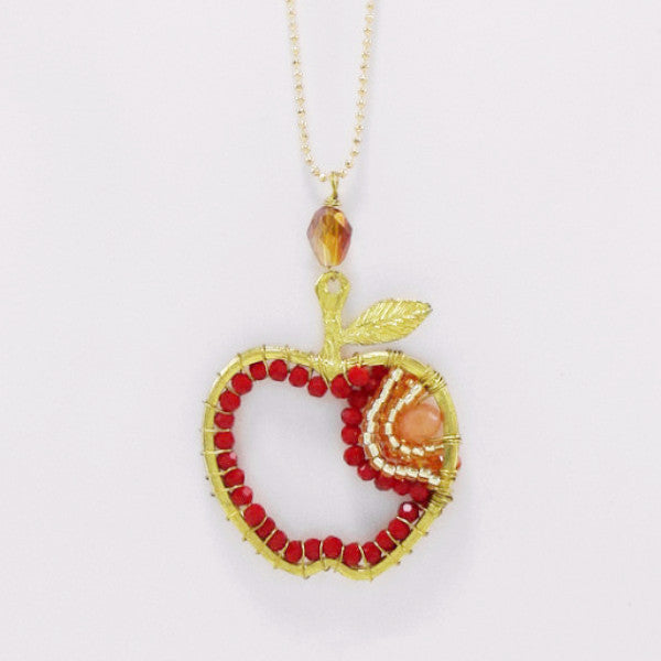 Beaded Apple Necklace - Necklace -  Talkeko Jewelry