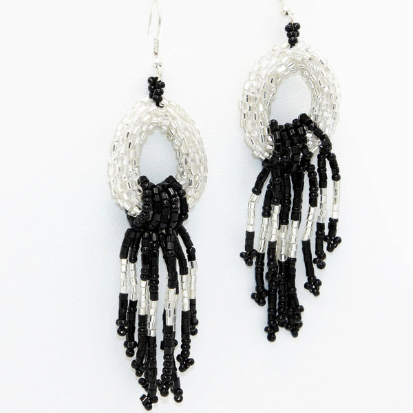 Silver Beads Glitter Earrings - Earrings -  Talkeko Jewelry
