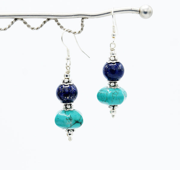 Blue Saucer Top - Earrings -  Talkeko Jewelry