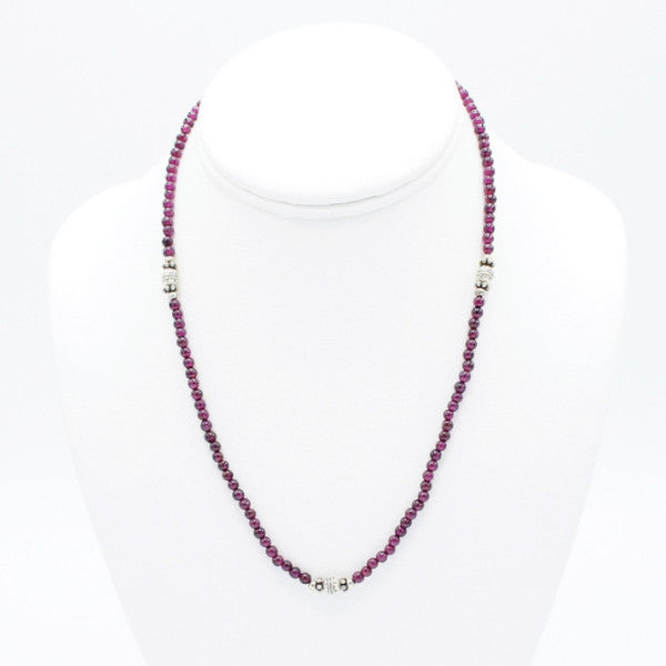 "Silver Garnet Necklace - 9"" - Necklace -  Talkeko Jewelry"