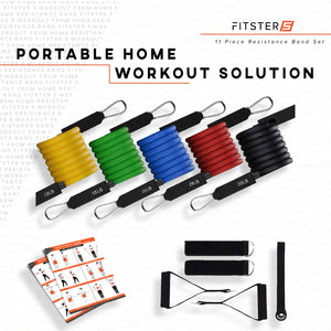 F5 11 Piece Premium Resistance Bands Set - with Door Anchor, Handles & Ankle Straps