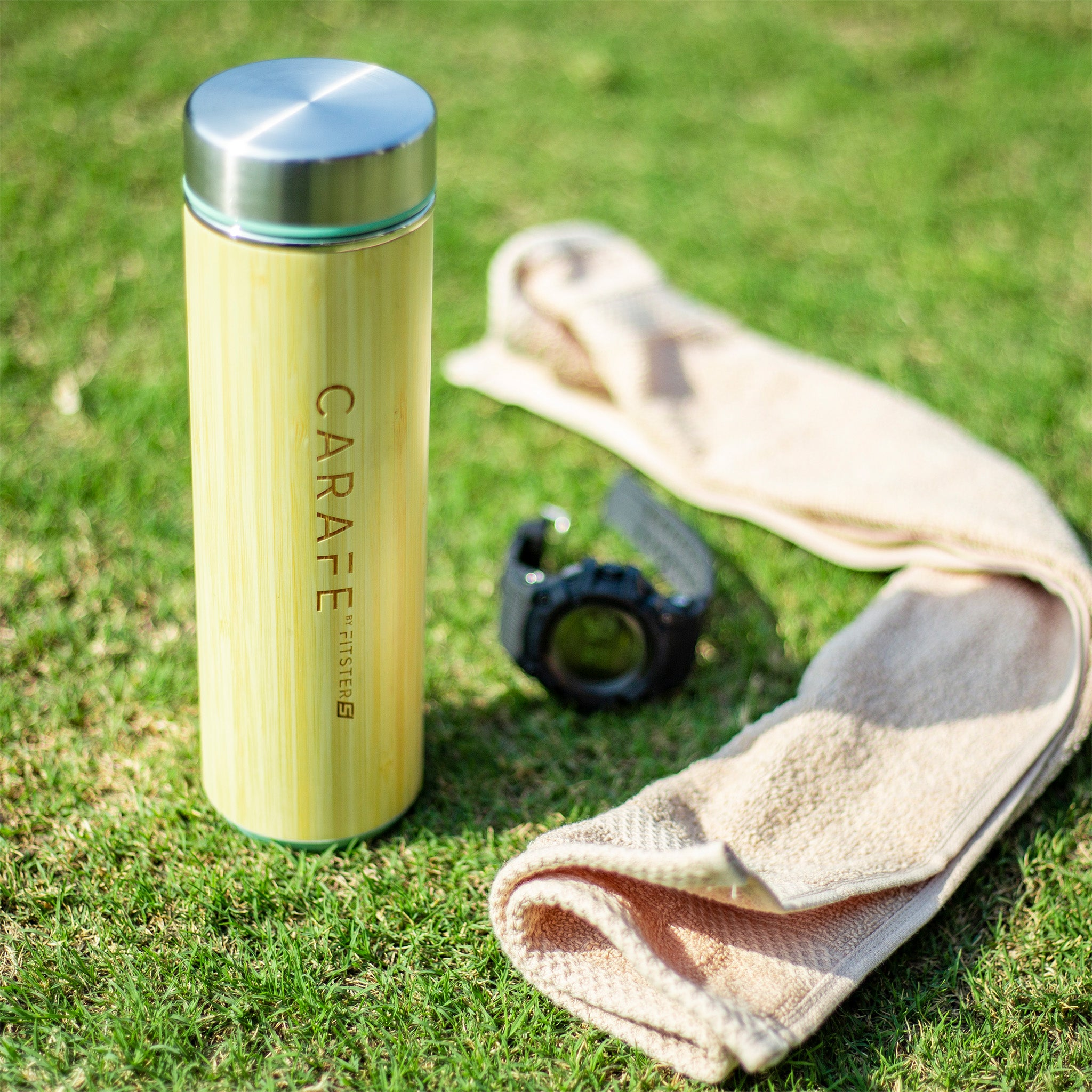 Fitster5 Carafe Infuser Bamboo Bottle for Tea & Coffee | Stainless Steel Double Walled | 532 ml