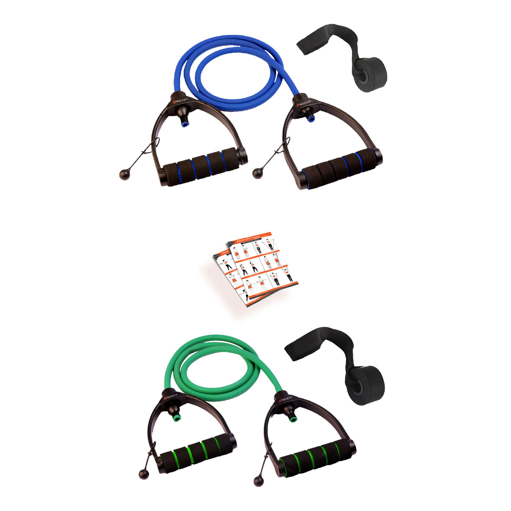 Blue & Green Combo Premium Exercise Resistance Band  with Door Anchor