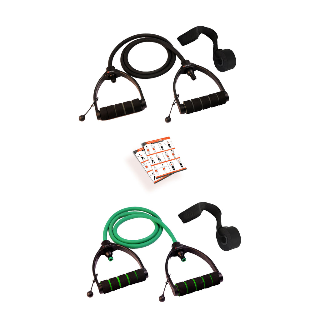 Green & Black Combo Premium Exercise Resistance Band  with Door Anchor