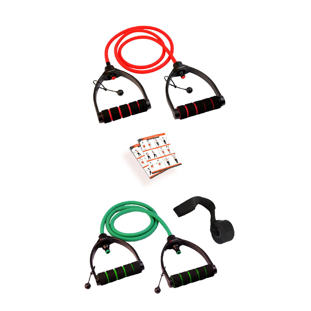 Red & Green Combo Premium Exercise Resistance Band  with Door Anchor