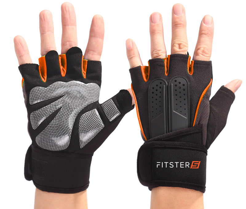 Fitster5 Premium Workout Gloves with Anti-Slip Silica Gel Palm/Wrist strap