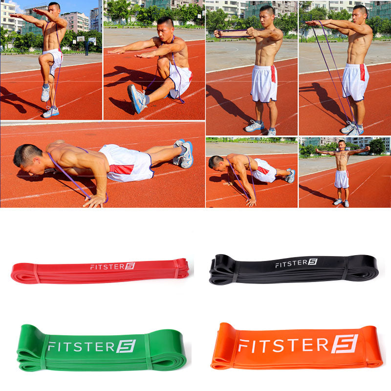 Fitster5 Premium Quality Thicker Latex Resistance Exercise Loop Bands with Carry Bag