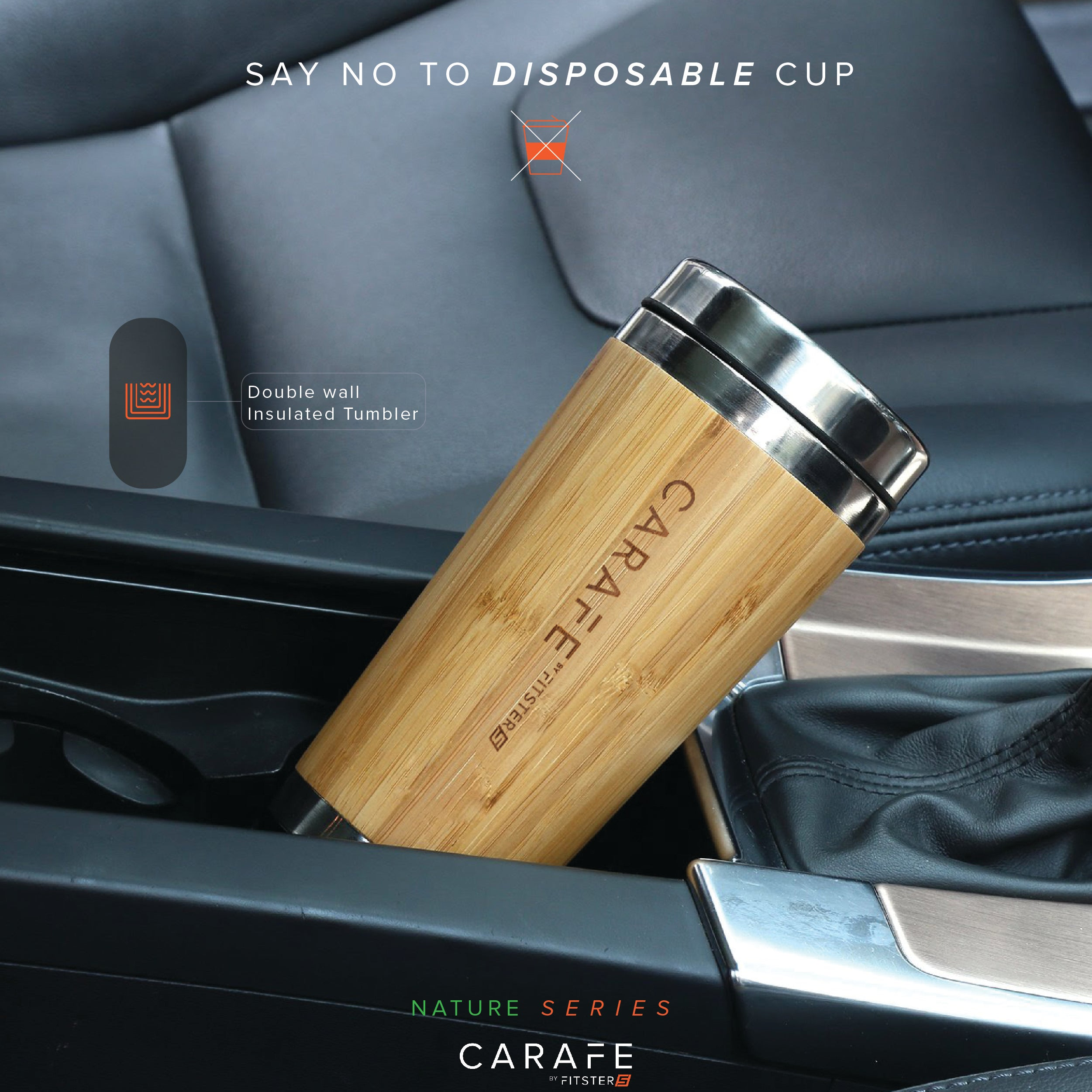 Bamboo Tumbler - Eco friendly, Stainless Steel, Double Walled Insulated 450 ml