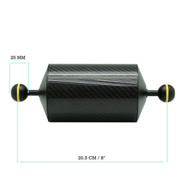 "8""/20.5cm D80mm Carbon Fiber Underwater Float Arm for Video Light/Strobe mounting"