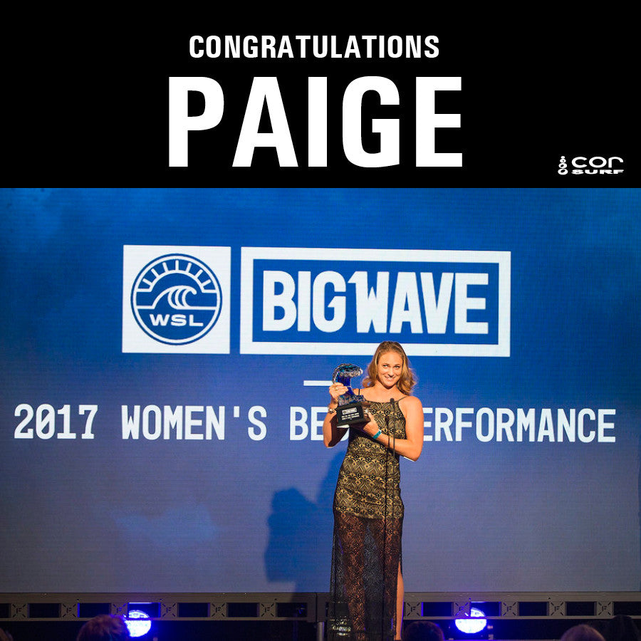 COR Surf Team Rider Paige Alms Earns Top Honors at 17th Annual Big Wave Awards