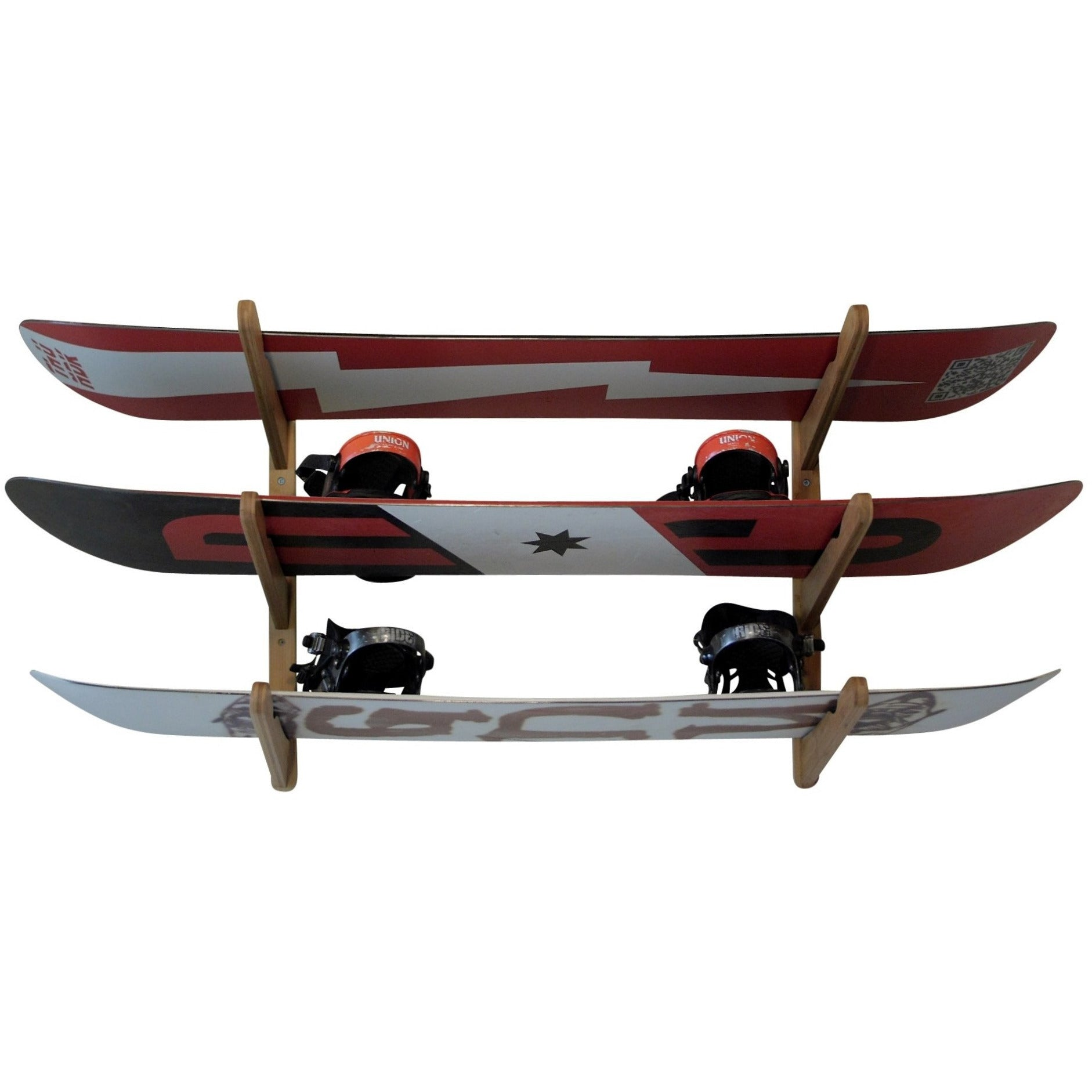 cor surf bamboo wood wall snowboard storage mount for three boards