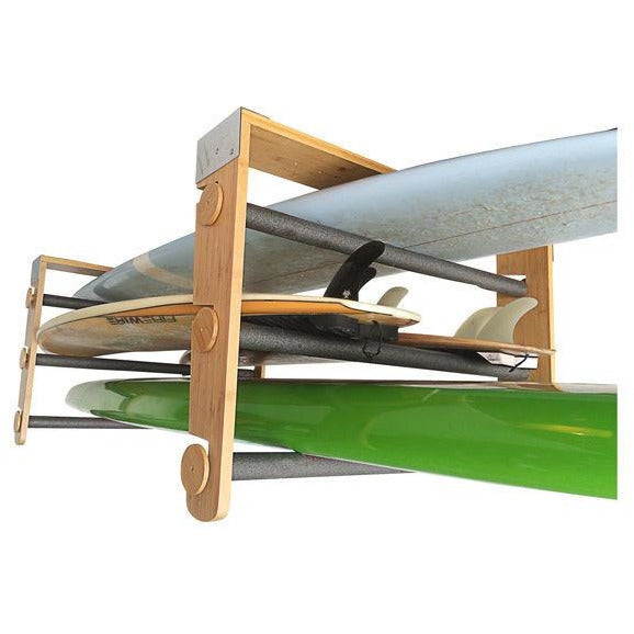 Bamboo Roll Rack Works with Surfboards Paddleboards Kayaks Skiis Snowboards Wakeboards and every other board