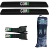 Aero Car Rack Pad and 10' Scratch Resistant Silicone Tie Down Strap Combo Pack (for Wide Bars)
