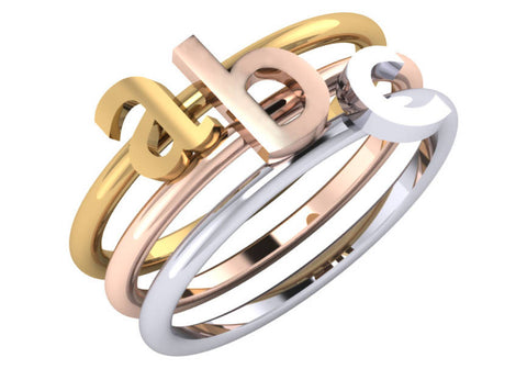 Gold Lower Case Initial Stack Ring