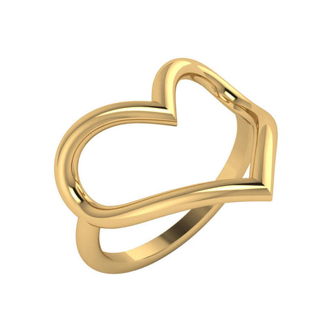 Open Heart Gold Ring