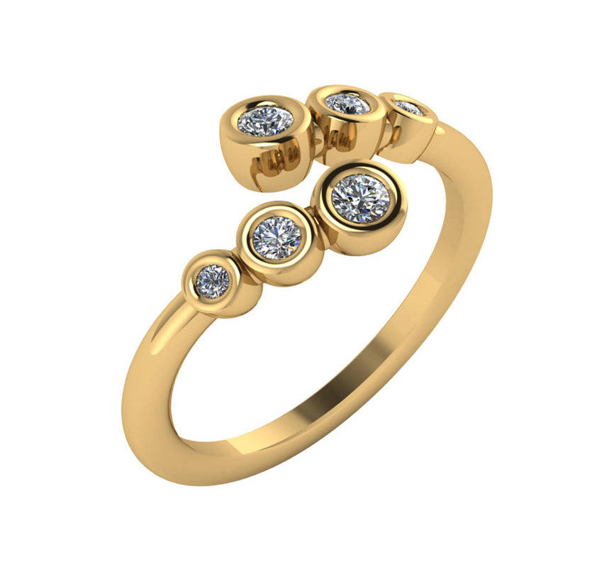 Multi Bezel Diamond Bypass Ring