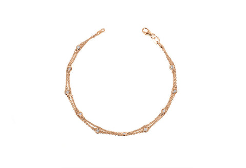 Double Row Diamond Station Bracelet