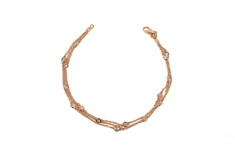Rose Gold Triple Row Diamonds By the Yard Station Bracelet
