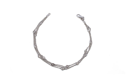 White Gold Triple Row Diamonds By the Yard Station Bracelet