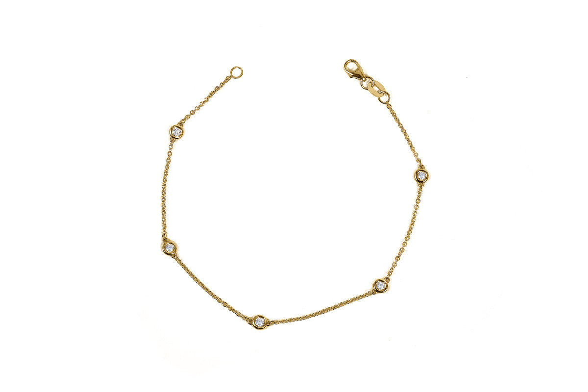 Yellow Gold Diamonds By the Yard Station Bracelet