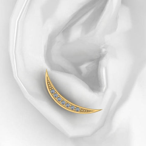 Crescent Moon Diamond Ear Climber