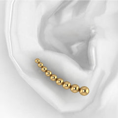 Gold Graduating Beads Ear Cuffs