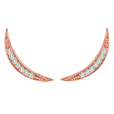 Rose Gold Crescent Moon Diamond Ear Climber