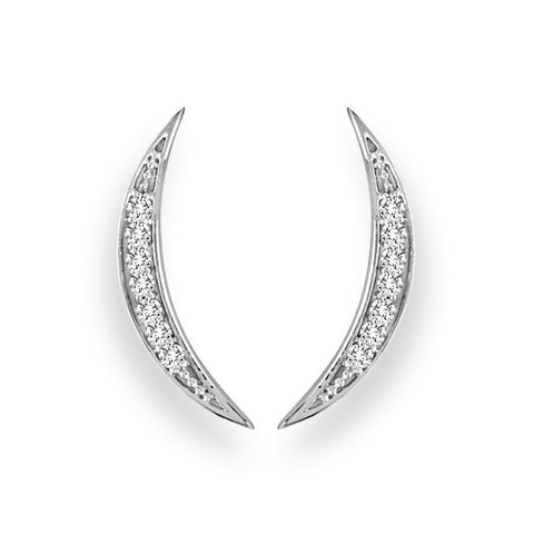 White Gold Crescent Moon Diamond Ear Climber