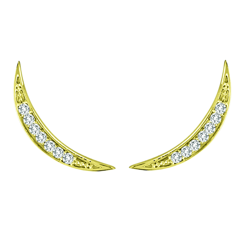 Yellow Gold Crescent Moon Diamond Ear Climber