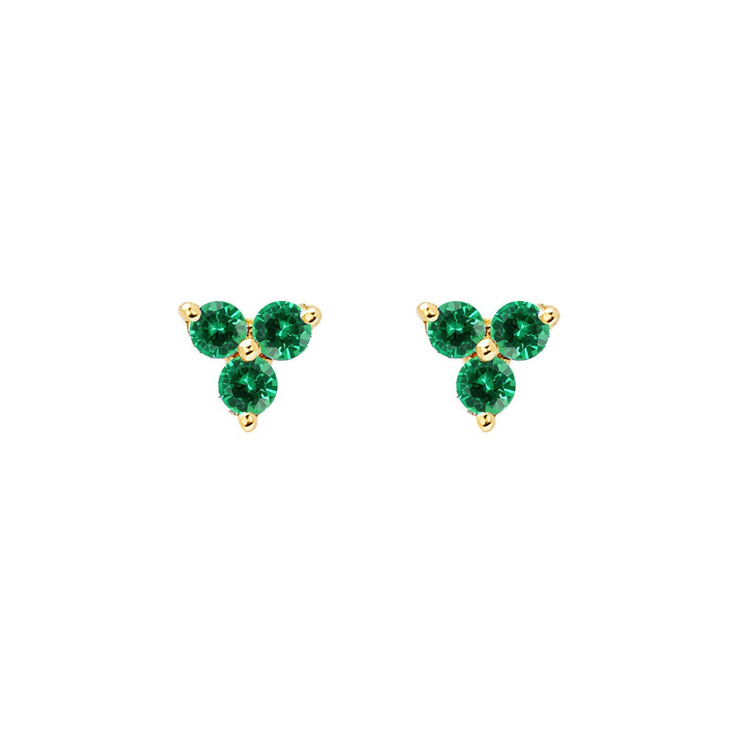Trio Gemstone Stud Earrings