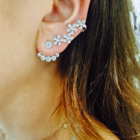 Diamond Flower Ear Climber
