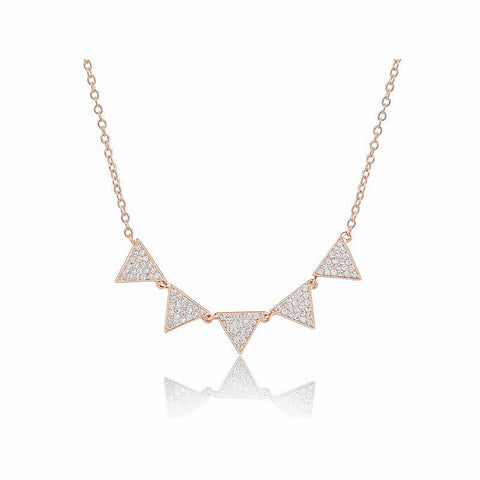 Five Triangle Pave Necklace