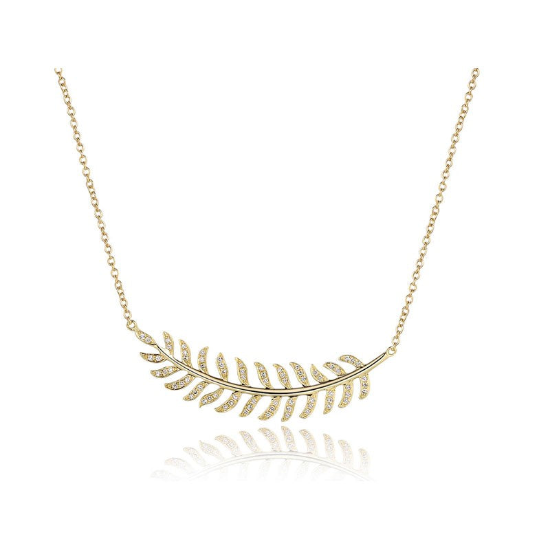 Curved Diamond Feather Necklace