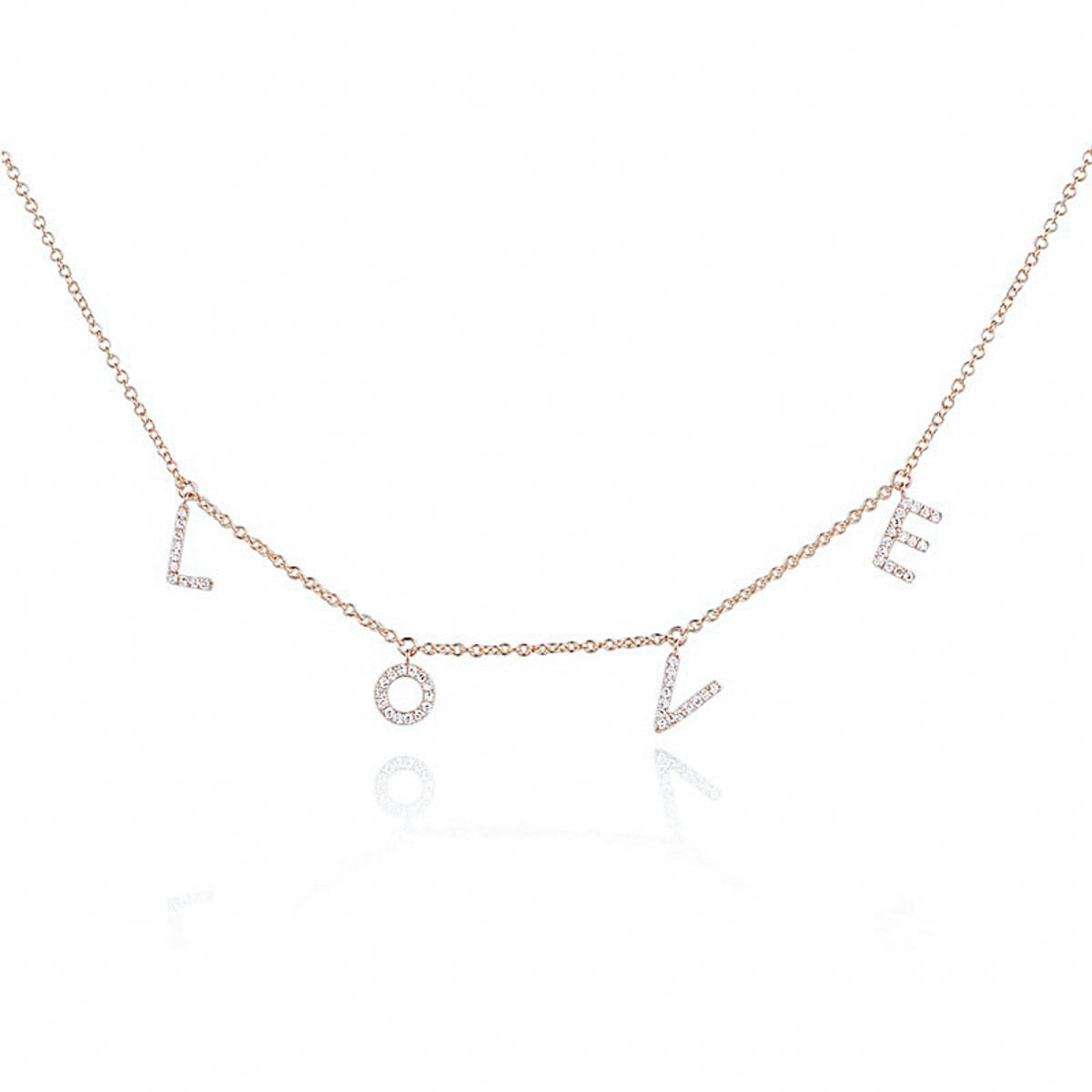 Diamond LOVE Dangle Necklace