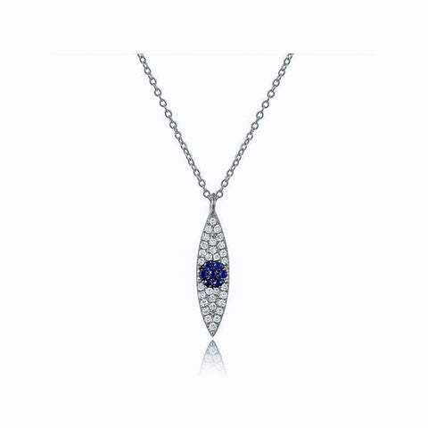 Vertical Diamond and Sapphire Evil Eye Necklace