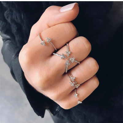 Open Diamond 4 Trio Ring