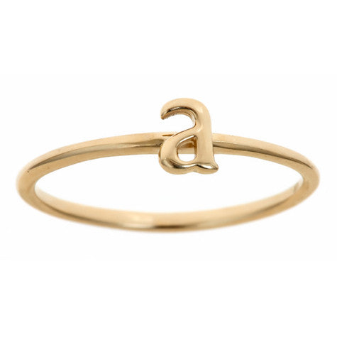 Yellow Gold Lower Case Initial Band