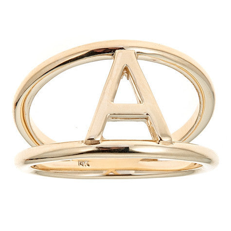 Gold Double Band Initial Ring