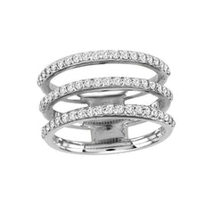 Spatial Triple Row Diamond Ring