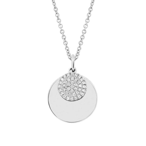 Gold and Diamond Disc Layered Charm Necklace