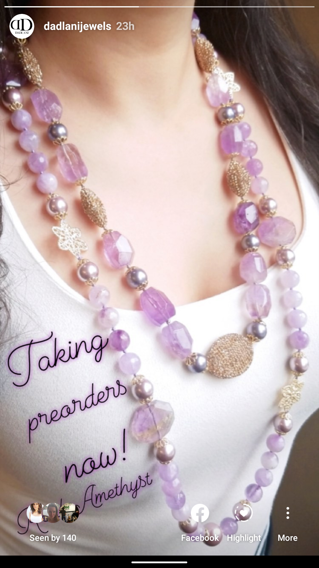 Amethyst Pearl Gold Necklace - Preorder