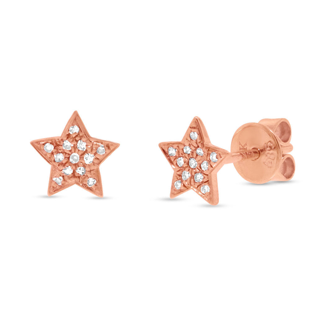 Rose Gold and Diamonds Star Studs Earrings