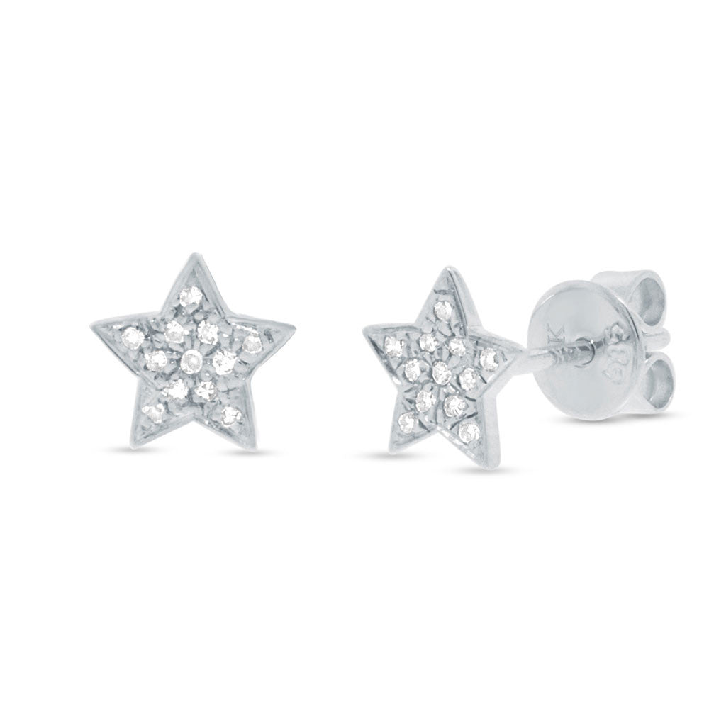 White Gold and Diamonds Star Studs Earrings