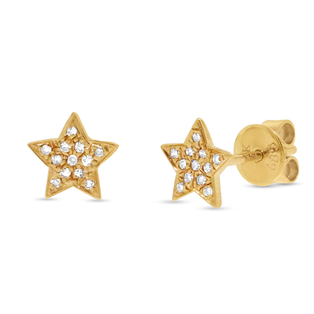 Yellow Gold and Diamonds Star Studs Earrings